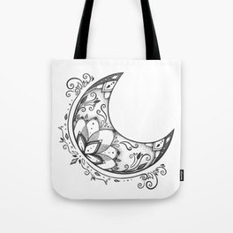 Ornamental Crescent Moon Lotus Tote Bag