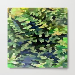 Foliage Abstract Pop Art In Green and Blue Metal Print