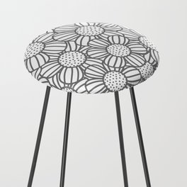 Field of daisies - gray Counter Stool