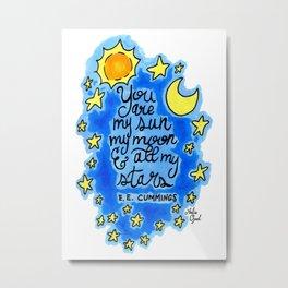 Sun, Moon, and Stars Metal Print