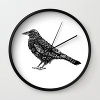 raven Wall Clocks featuring Raven by Ejaculesc