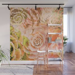Hen and Chicks Succulents in Red and Pink Wall Mural