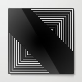 Modern Black and White Geometrical Patterns Metal Print