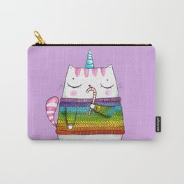 Rainbow Caticorn eating a candy cane Carry-All Pouch