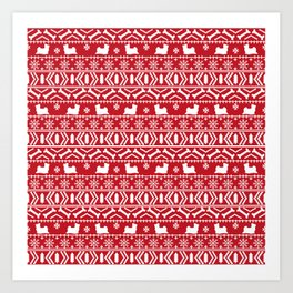 Biewer Terrier fair isle christmas red and white pattern minimal dog breed pet designs Art Print