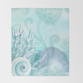 SEASHELL DREAMS | blue Throw Blanket