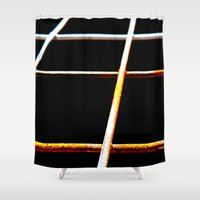 the wire Shower Curtains featuring Rusty Wire by The Wellington Boot