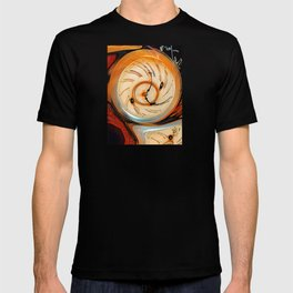 Traditional antique clock face with Roman numerals shown in conceptual and twisted abstract shape T-shirt