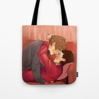 larry Tote Bags featuring family larry by mrsadfran