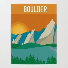 Boulder, Colorado - Skyline Illustration by Loose Petals Poster
