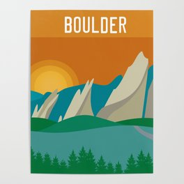 Boulder, Colorado - Skyline Illustration by Loose Petals Poster