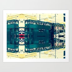 Tramway collage cityscape in Hong Kong Art Print