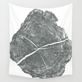 Locust Tree ring image, woodcut print Wall Tapestry