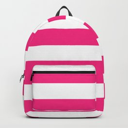 Electric pink - solid color - white stripes pattern Backpack