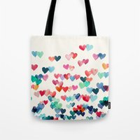 navy Tote Bags featuring Heart Connections - watercolor painting by micklyn