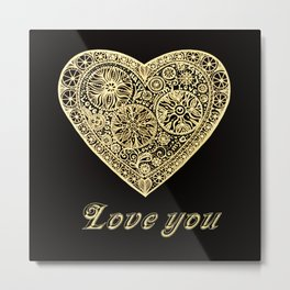 golden heart I love you Metal Print