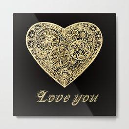 golden heart I love you Metal Print