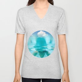 Little girl in water, with clouds Unisex V-Neck