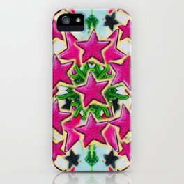 Abstract pink stars iPhone Case