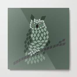 Diamond Mosaic Owl Metal Print