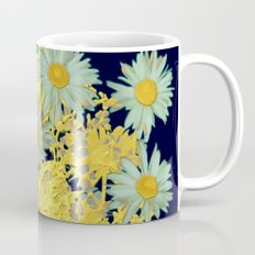 blue daisies and gold Coffee Mug