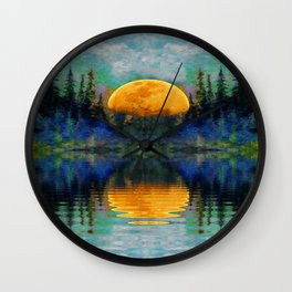 SURREAL RISING GOLDEN MOON BLUE REFLECTIONS Wall Clock