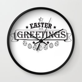 Easter Greetings Black Style Design Funny Easter Outfit Wall Clock