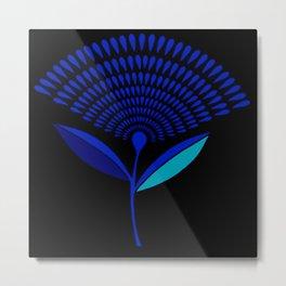 Mid Century Modern Dandelion Seed Head In Princess Blue Metal Print
