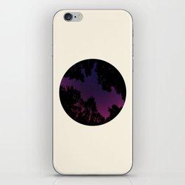 Tree Silhouette Against Purple Sky Circle Photo Frame iPhone Skin