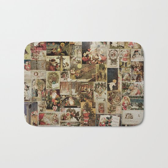 Merry Christmas- Santa angels & friends- collage Bath Mat