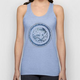 Damask vintage Monaco blue white girly ginger jar floral antique chinese dragon chinoiserie china Unisex Tank Top
