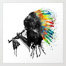 Indian Silhouette With Colorful Headdress Art Print