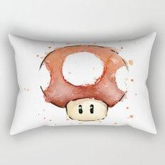 Red Mushroom Watercolor Mario Art Nintendo Geek Gaming Rectangular Pillow