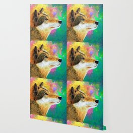 Watercolor Wolf Abstract (Color) Wallpaper