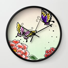 Two peony and two butterflies~牡丹と蝶々~ Wall Clock