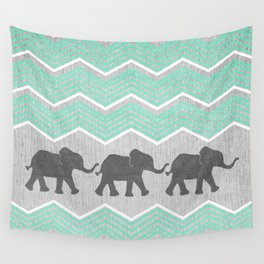 Three Elephants - Teal and White Chevron on Grey Wall Tapestry
