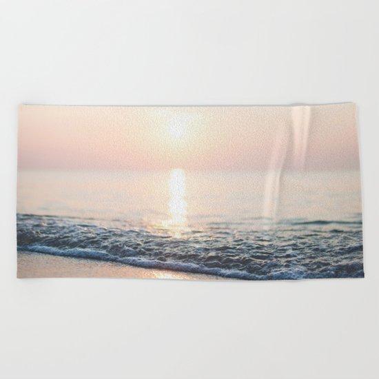 Calm Ocean -ocean, waves, sun, pastel Beach Towel