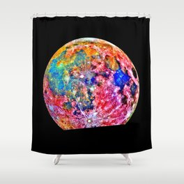Colorful Moon Surface Shower Curtain