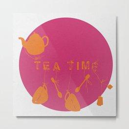Pink and Orange Tea Time Metal Print