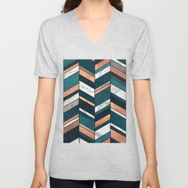 Abstract Chevron Pattern - Copper, Marble, and Blue Concrete Unisex V-Neck
