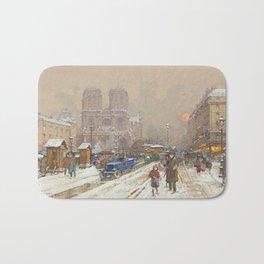 Notre Dame, Paris Winter City Scene by Eugene Galien Laloue Bath Mat