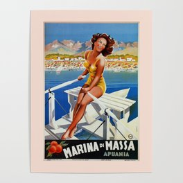 Vintage Marina di Massa Italian travel advertising Poster