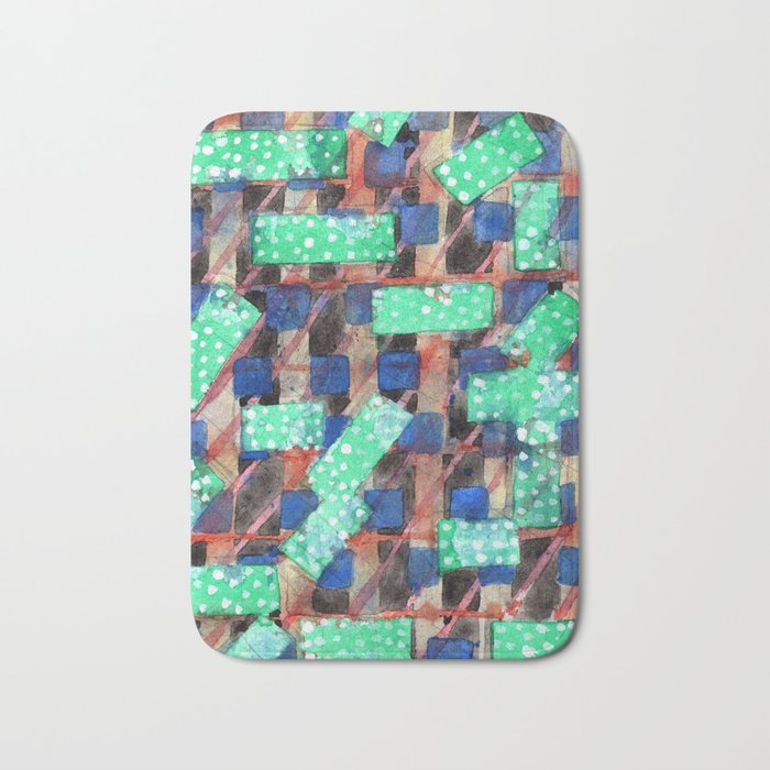 Dotted Green Rectangles on Top Pattern Bath Mat