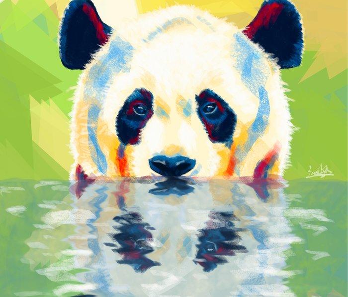 Panda taking a bath Metal Travel Mug