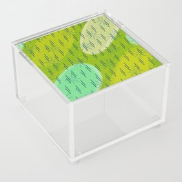 Modern circles with flowers and rain Acrylic Box