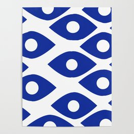 Blue and White Pattern Fish Eye Design Poster