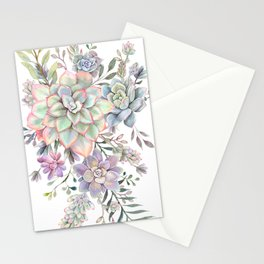 succulent watercolor 8 Stationery Cards