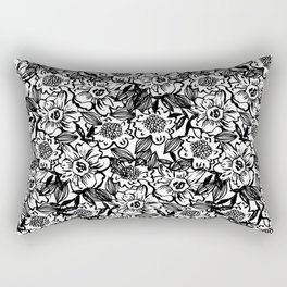 Ella - abstract floral flowers minimal modern black and white girly gender neutral boho painting Rectangular Pillow