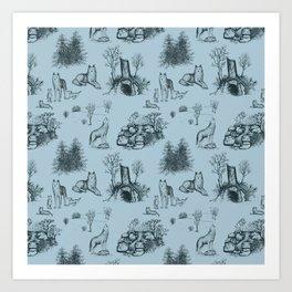 Eurasian Wolf Toile Pattern (Blue-Gray) Art Print