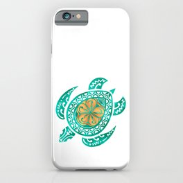 Maui Plumeria Watercolor Turtle iPhone Case